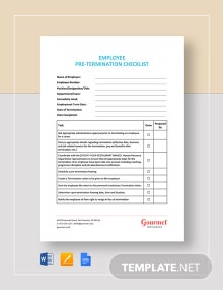 Employee Pre-Termination Checklist Template