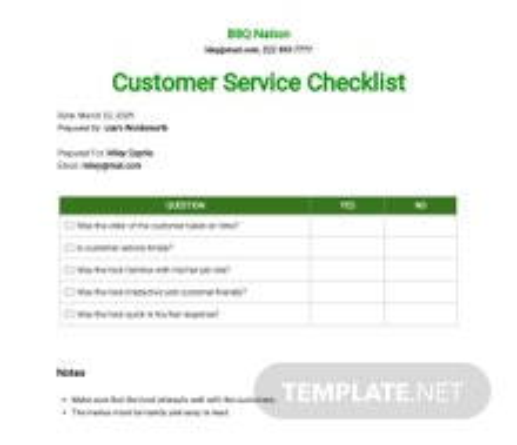 Restaurant Customer Service Checklist Template