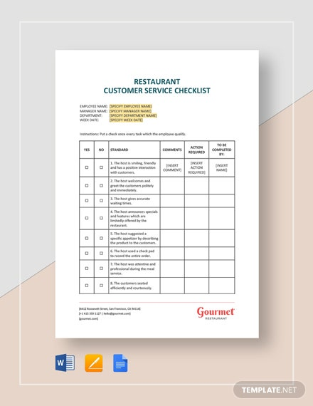 Restaurant Customer Service Checklist Template