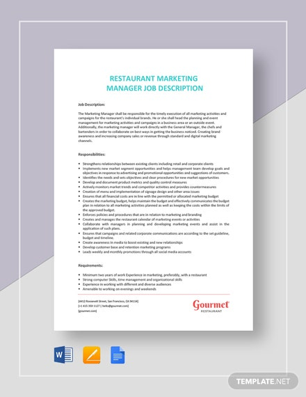 restaurant marketing manager job description