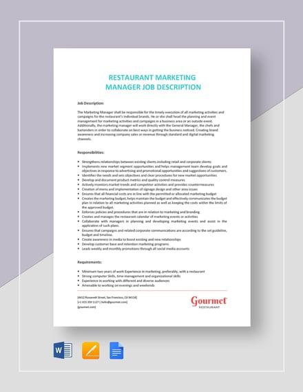 Restaurant Marketing Manager Job Description