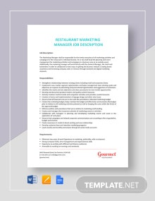 Restaurant Marketing Manager Job Description Template