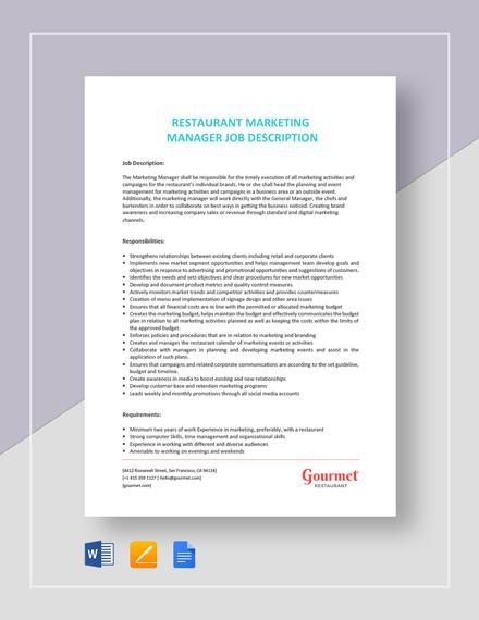 Restaurant Marketing Manager Job Description Template