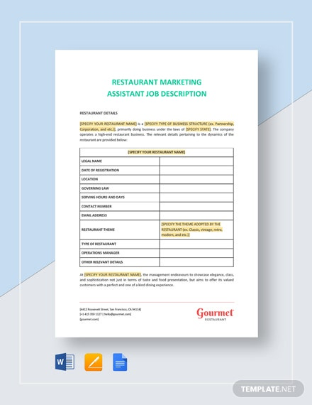 restaurant marketing assistant job description
