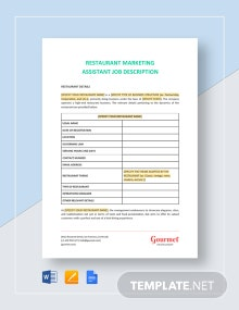 Restaurant Marketing Assistant Job Description Template