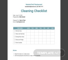 Restaurant Cleaning Checklist Template