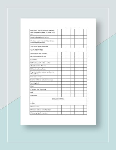 Restaurant Cleaning Checklist Template