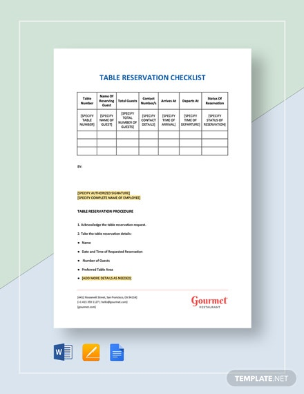 Table Reservation Checklist Template