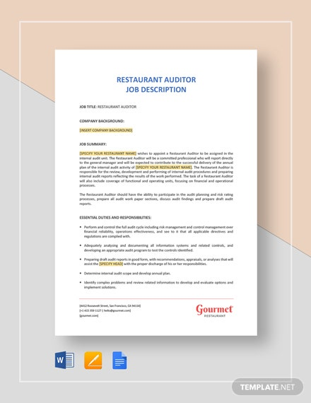Restaurant Auditor Job Description Template
