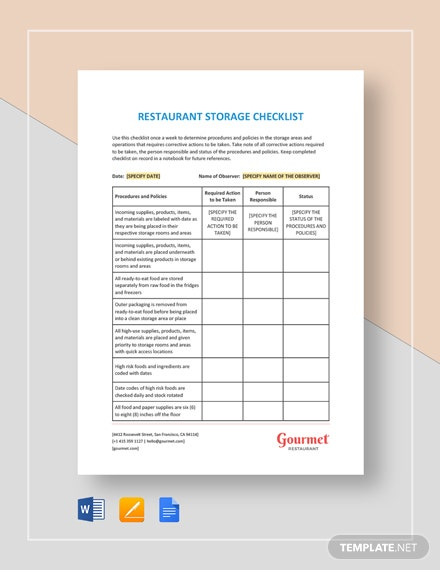 Restaurant Storage Checklist Template