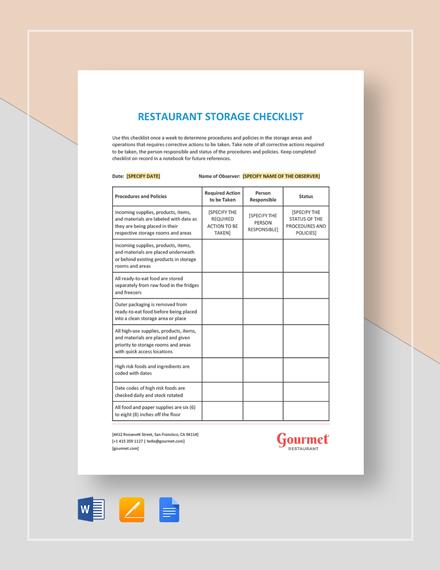 Restaurant Storage Checklist Template