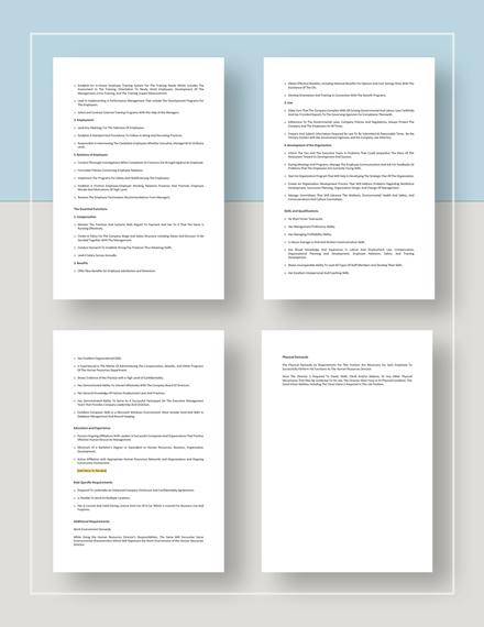 Restaurant HR director job description Download