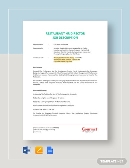 Restaurant HR Director Job Description Template