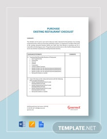 Purchase Existing Restaurant Checklist Template