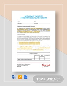 Restaurant Employee Performance Evaluation Form Template