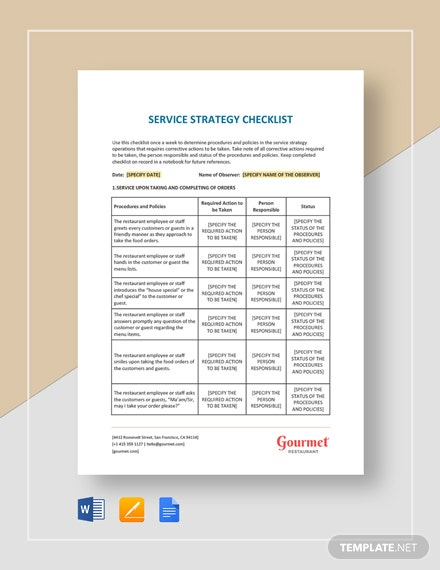 Restaurant Service Strategy Checklist Template
