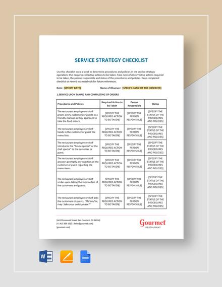 Restaurant Service Strategy Checklist Template