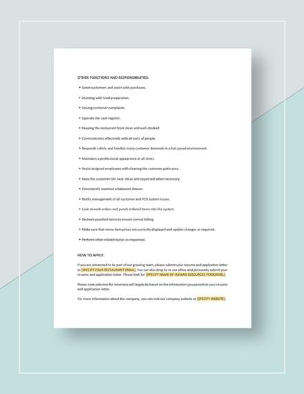 Sample Restaurant CashierCounter Attendant Job Description