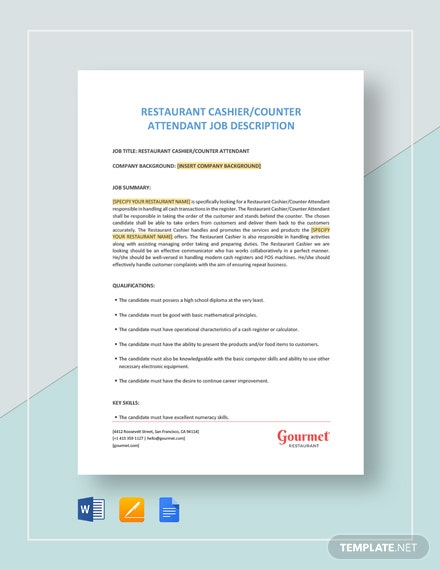 Restaurant Cashier/Counter Attendant Job Description Template