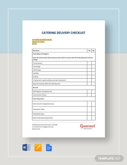 Catering Delivery Checklist Template