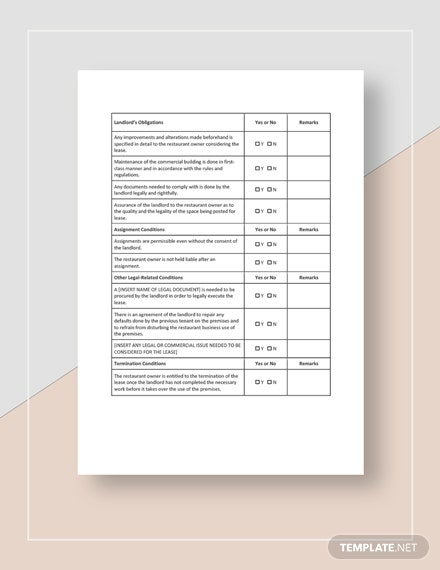 Restaurant Leasing Checklist Download