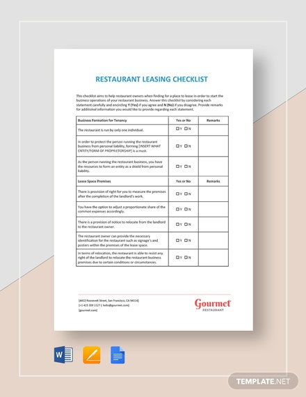 Restaurant Leasing Checklist Template