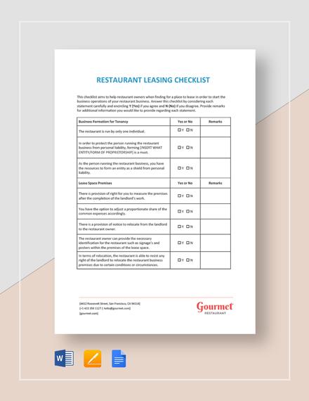 Restaurant Leasing Checklist Template