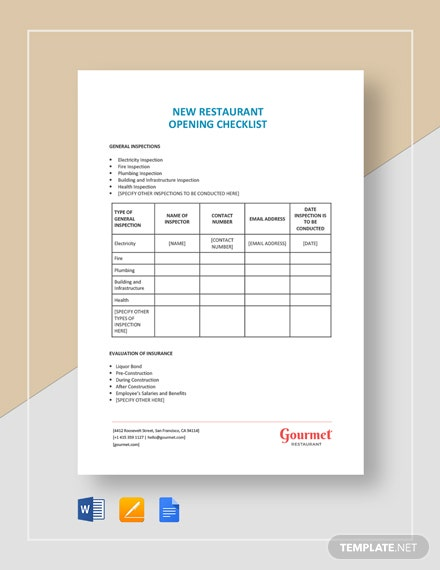 New Restaurant Opening Checklist Template