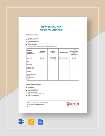 New Restaurant Opening Checklist