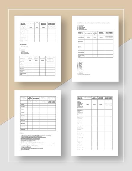 Sample New Restaurant Opening Checklist