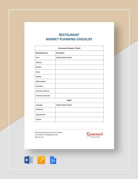Restaurant Market Planning Checklist