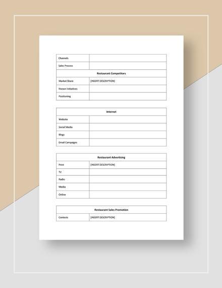 Restaurant Market Planning Checklist Download