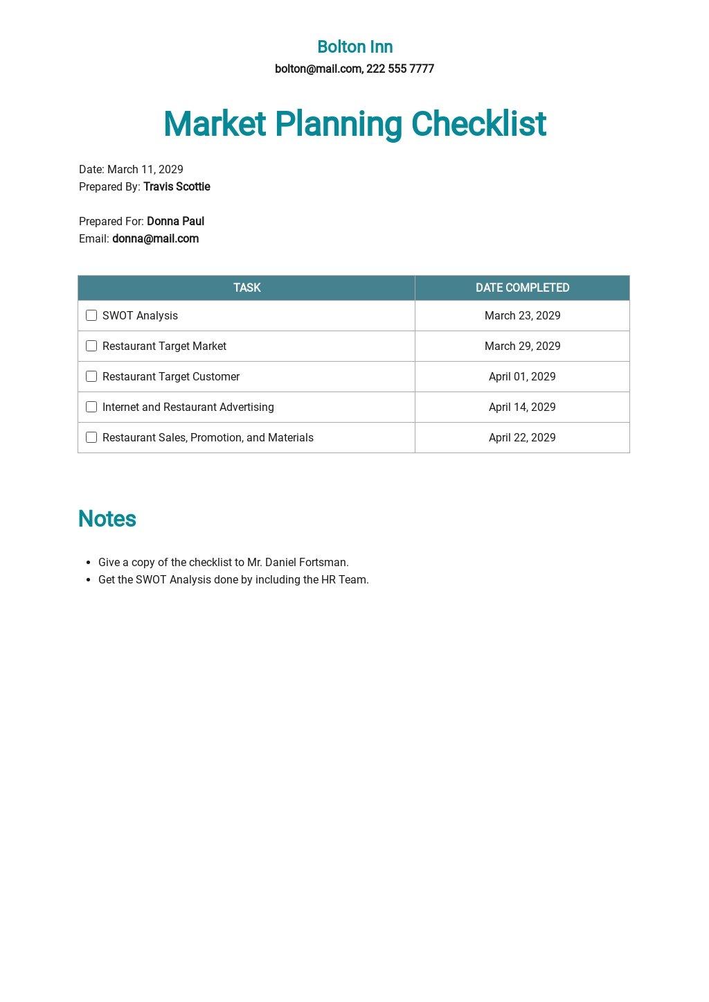 Restaurant Market Planning Checklist Template