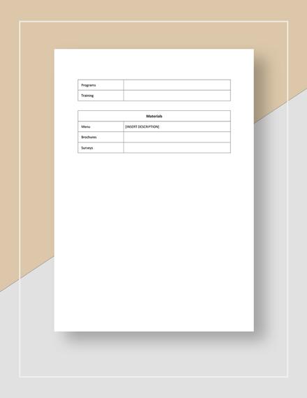 Sample Restaurant Market Planning Checklist