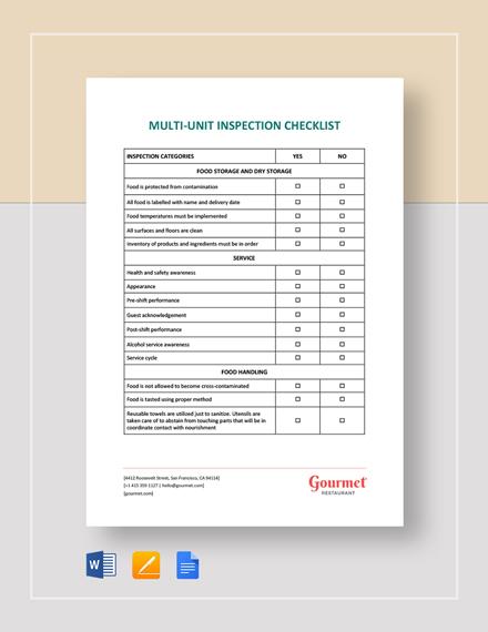 Restaurant Multi Unit Inspection Checklist Template