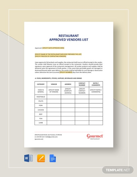 Restaurant Approved Vendors List Template