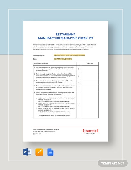 Restaurant Manufacturer Analysis Checklist Template