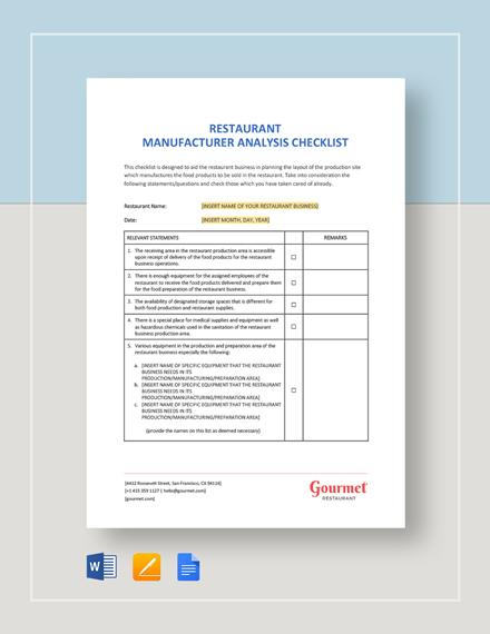 Restaurant Manufacturer Analysis Checklist