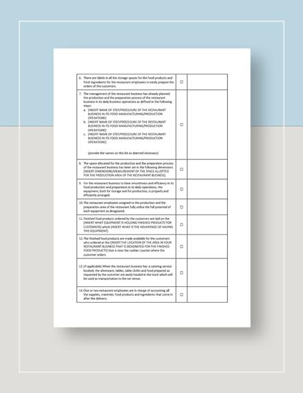 Restaurant Manufacturer Analysis Checklist Template