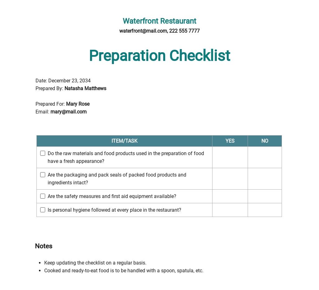 Restaurant Preparation Checklist Template