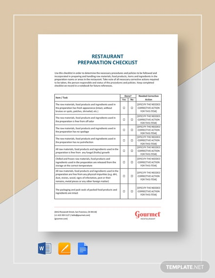 Restaurant Preparation Checklist Template