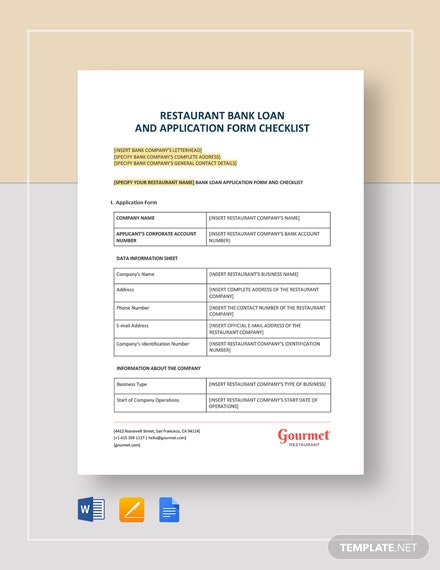 Restaurant Bank Loan and Application Form Checklist Template