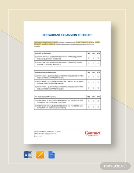 Restaurant Expansion Checklist Template