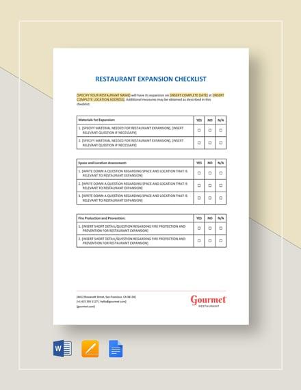 Restaurant Expansion Checklist Template
