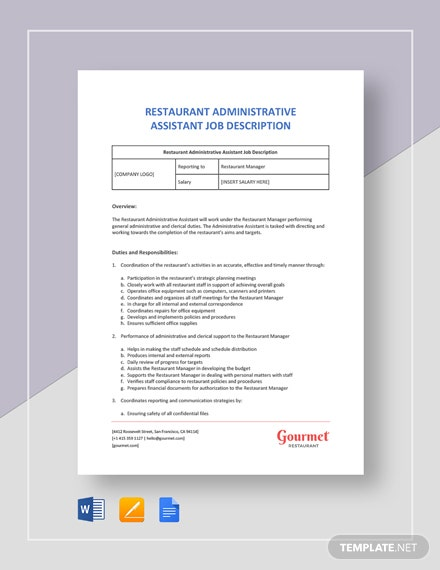 Restaurant Administrative Assistant Job Description Template
