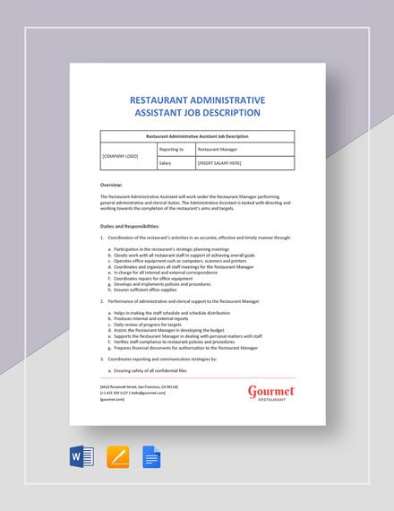 Restaurant Administrative Assistant Job Description Template
