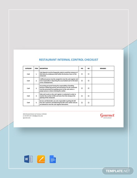 Restaurant Internal Control Checklist Template