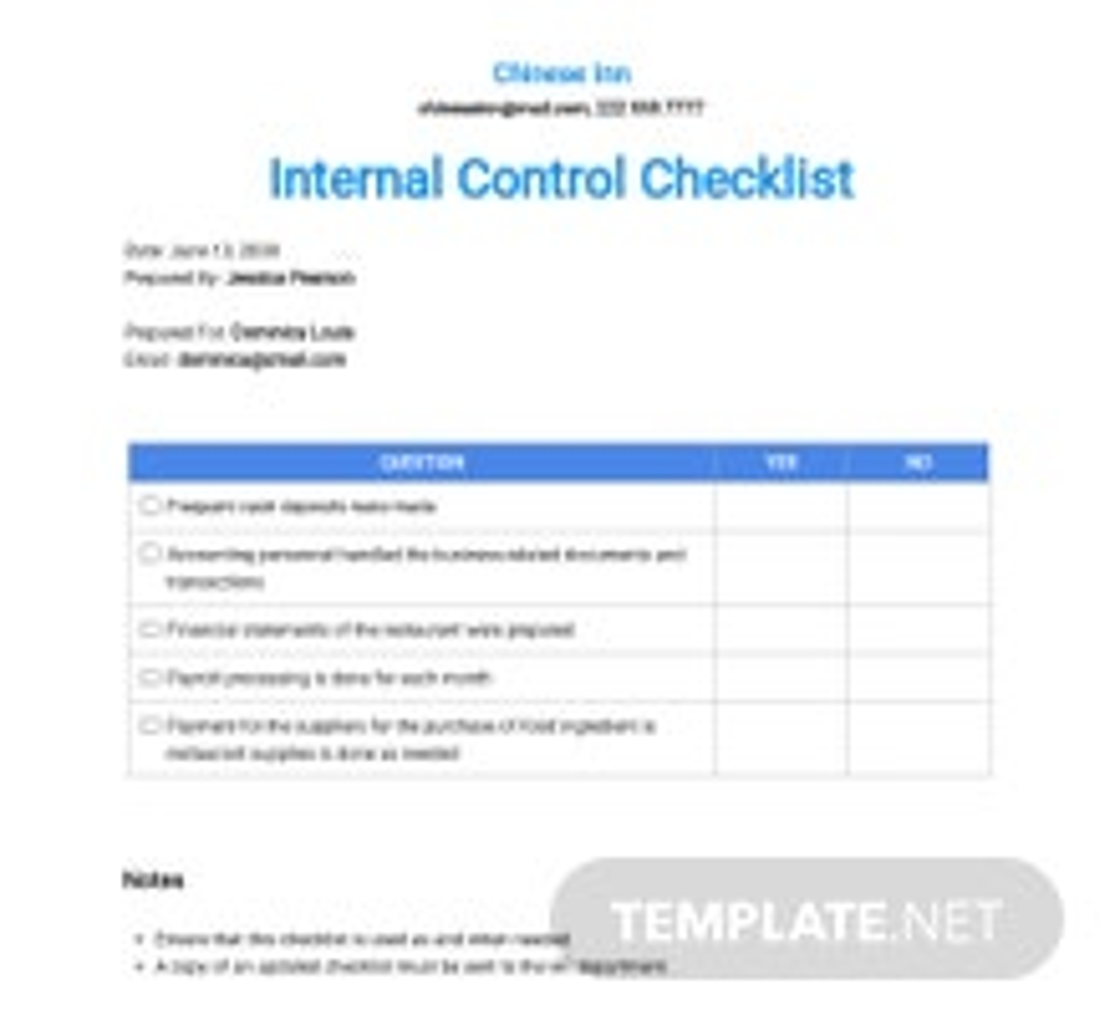 Restaurant Internal Control Checklist Template