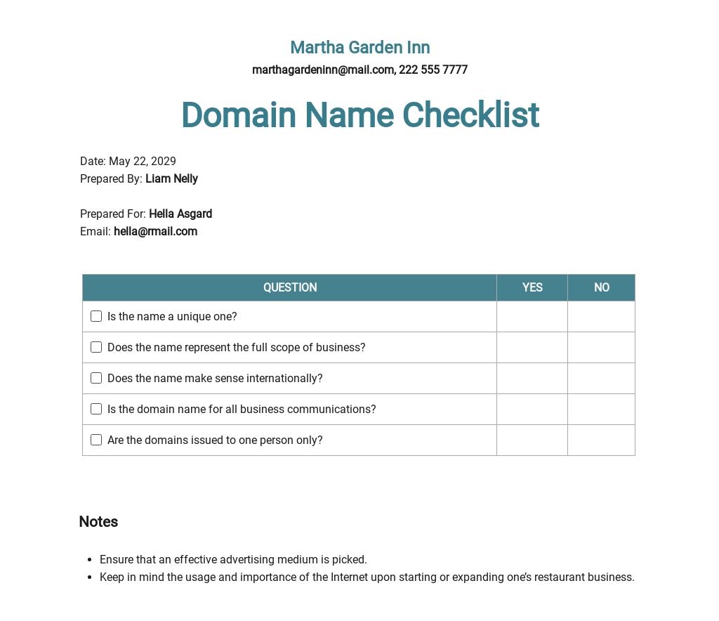 Checklist Choosing a Restaurant Domain Name Template
