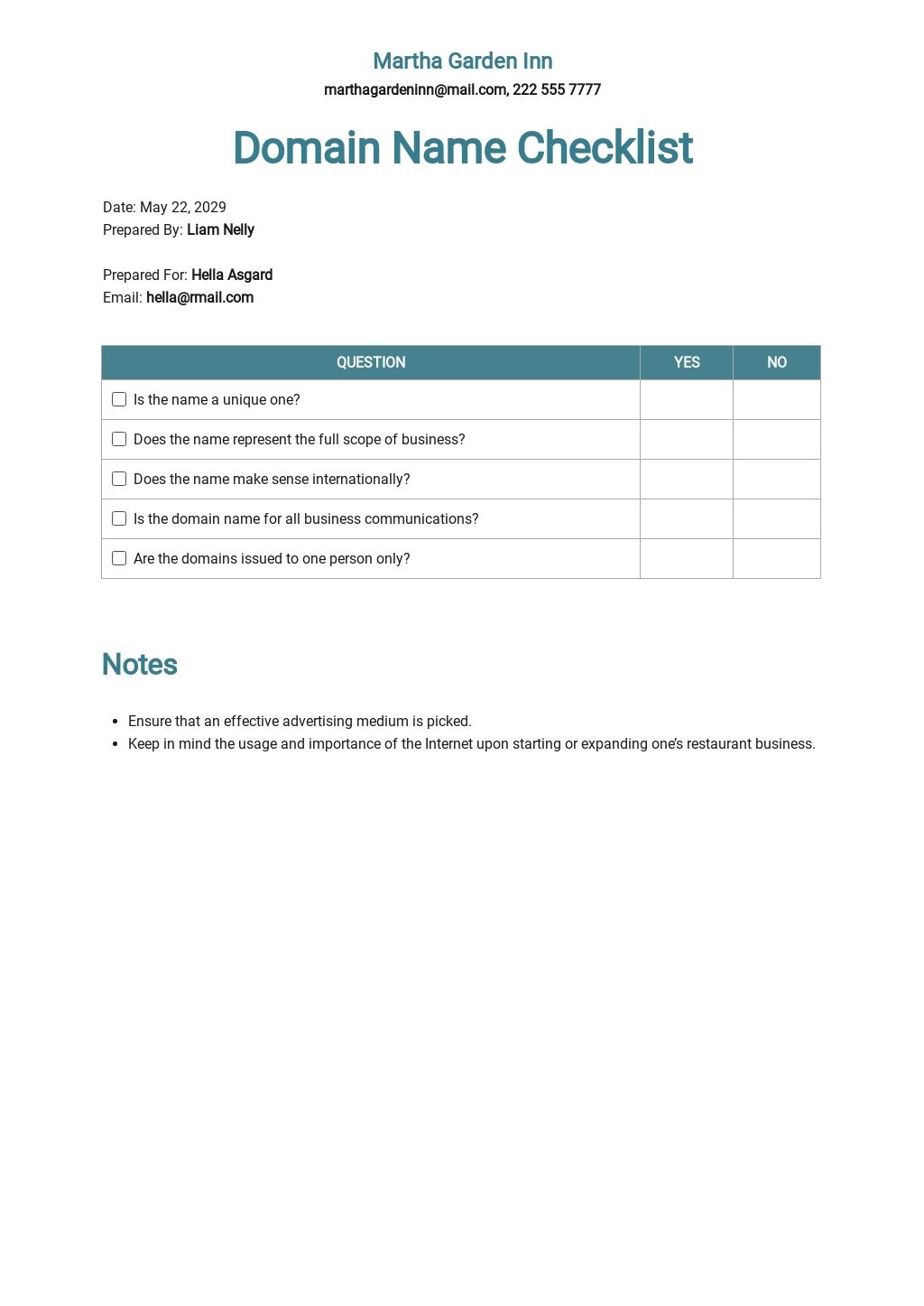 Checklist Choosing a Restaurant Domain Name Template.jpe